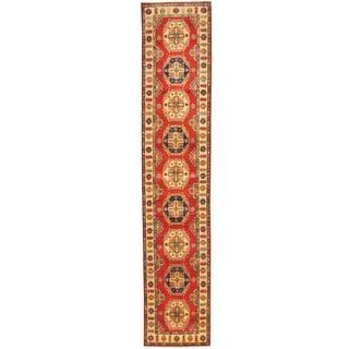 Herat Oriental Afghan Hand-knotted Tribal Kazak Red/ Ivory Wool Rug (2'8 x 13'6)