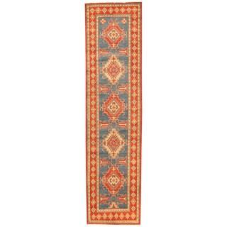 Herat Oriental Afghan Hand-knotted Tribal Kazak Wool Runner (2'8 x 10'9)