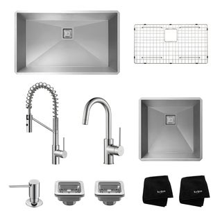 "Kraus 32"" and 19"" Undermount SS Sinks w/ Pull Down and Bar Faucets"