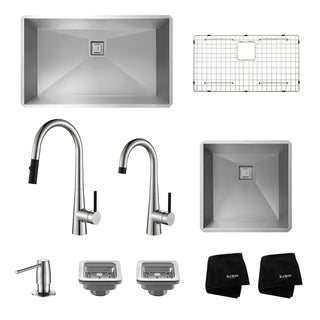 "Kraus 32"" and 19"" Undermount Stainless Steel Sinks w/ Pull Down and Bar Faucets"