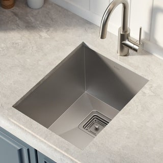 KRAUS KHU15 Pax Zero-Radius 14-1/2-inch Handmade Undermount Single Bowl 18 Gauge Stainless Steel Bar Sink