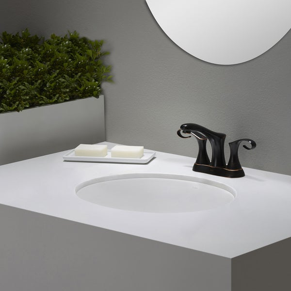 KRAUS Elavo Large Oval Ceramic Undermount Bathroom Sink in White with ...