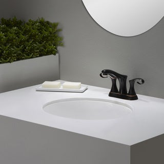 KRAUS Elavo Large Oval Ceramic Undermount Bathroom Sink in White with Overflow