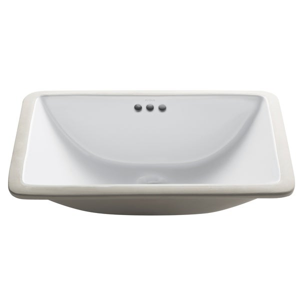 Kraus KCU-241 Elavo 21 Inch Rectangle Undermount Porcelain Ceramic Vitreous Bathroom Sink in White, Overflow