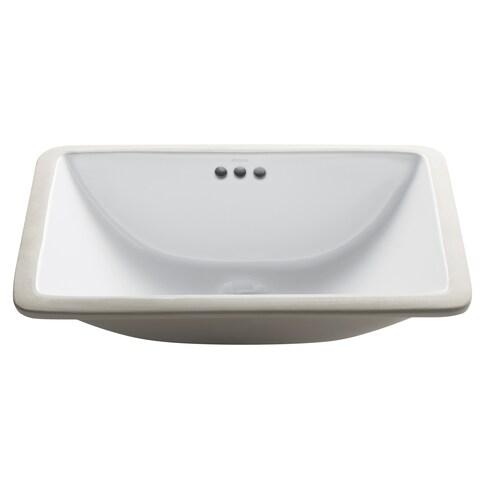 Kraus KCU-241 Elavo 21 Inch Rectangle Undermount Porcelain Ceramic Vitreous Bathroom Sink in White, Overflow