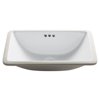 KRAUS Elavo Small Rectangular Ceramic Undermount Bathroom Sink in White with Overflow