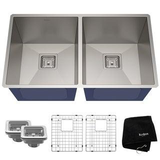 Kraus KHU322 Undermount 31-1/2 in. 2-Bowl Stainless Steel Kitchen Sink