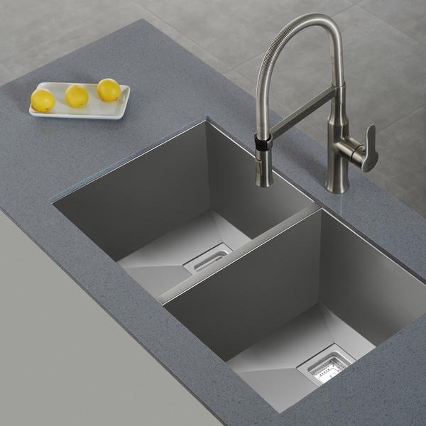 Kraus Brand Review : KRAUS Pax Zero-Radius 31.5 Inch Handmade Undermount 50/50 Double Bowl ...