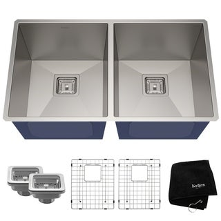 KRAUS Pax Zero-Radius 31.5 Inch Handmade Undermount 50/50 Double Bowl Stainless Steel Kitchen Sink
