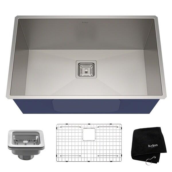 Kraus KHU29 Pax Zero-Radius Undermount 28-1/2-inch 16 gauge Single Bowl Satin Stainless Steel Kitchen Sink