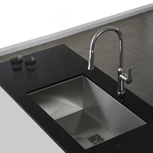 Kraus Sink Installation : KRAUS 30 Inch Undermount Single Bowl 16 Gauge Stainless Steel Kitchen ...