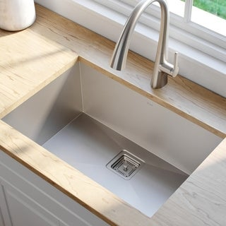 KRAUS Pax Zero-Radius 28.5 Inch Handmade Undermount Single Bowl Stainless Steel Kitchen Sink with NoiseDefend Soundproofing