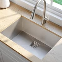 Kraus KHU29 Pax Zero-Radius Undermount 28-1/2-inch 16 gauge Single Bowl Satin Stainless Steel Kitchen Sink