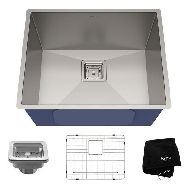 KRAUS Pax™ Zero-Radius 22 ½-inch 16 Gauge Undermount Single Bowl Stainless Steel Kitchen Sink - Silver