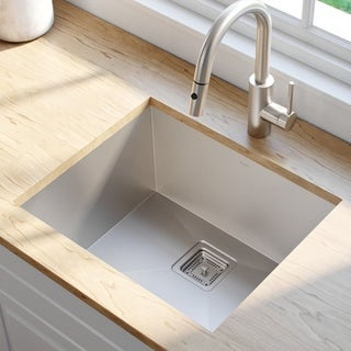 KRAUS Pax Zero-Radius 22.5 Inch Handmade Undermount Single Bowl 16 Gauge Stainless Steel Kitchen Sink