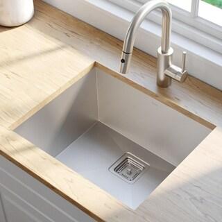 KRAUS Pax Zero-Radius 22 1/2-inch Handmade Undermount Single Bowl 16 Gauge Stainless Steel Kitchen Sink with NoiseDefend