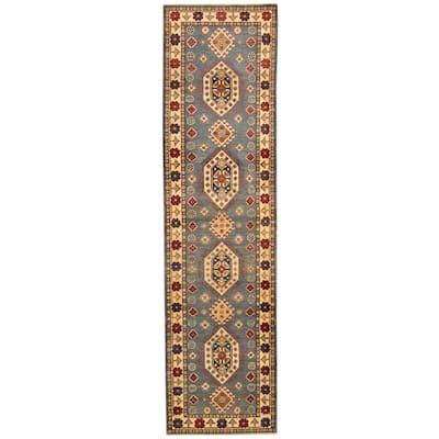 Handmade One-of-a-Kind Kazak Wool Runner (Afghanistan) - 2'7 x 10'