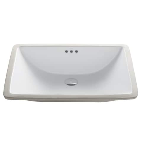 Kraus KCU-251 Elavo 23 Inch Rectangle Undermount Porcelain Ceramic Vitreous Bathroom Sink in White, Overflow