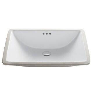 Beautiful KRAUS Elavo Large Rectangular Ceramic Undermount Bathroom Sink In White  With Overflow