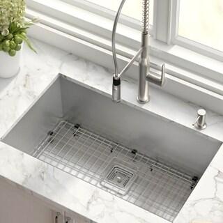 KRAUS Pax Zero-Radius 31 1/2-inch Handmade Undermount Single Bowl 16 Gauge Stainless Steel Kitchen Sink with NoiseDefend