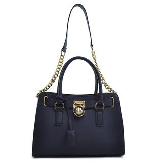 Dasein Medium Faux Saffiano Leather Satchel with Chain Shoulder Strap