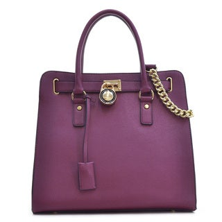 Dasein Large Faux Saffiano Leather Tote with Chain Shoulder Strap