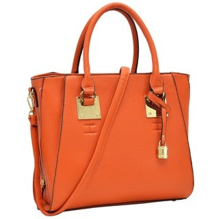Dasein Faux Leather Satchel with Side Zipper Decor