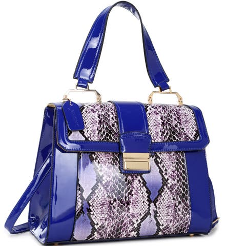 Dasein Faux Patent Leather Fold-Over Lock Tote Bag