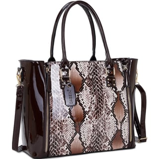 Dasein Faux Patent Leather Zipper Sides Satchel with Snakeskin Detail