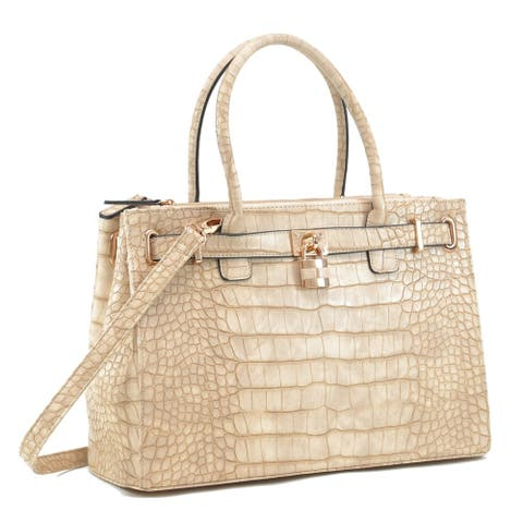 Dasein Faux Croco Embossed Leather Padlock Satchel Handbag