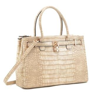 Dasein Faux Croco Embossed Leather Padlock Satchel Handbag