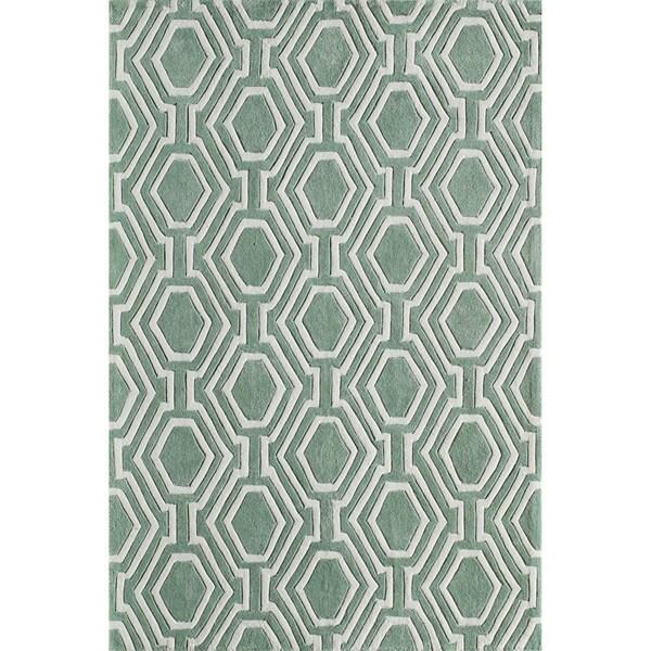 Momeni Bliss Grey Labyrinth Hand-Tufted Rug (8' X 10') - 8' x 10'