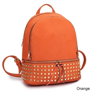 Dasein Buffalo Leather Studded Backpack with Bottom Zipper Compartment (Option: Orange)