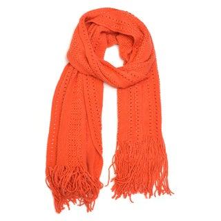 Pointelle Knitted Scarf with Fringe Ends|https://ak1.ostkcdn.com/images/products/10791988/P17839257.jpg?_ostk_perf_=percv&impolicy=medium