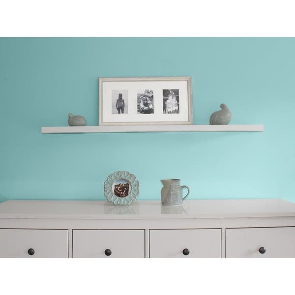 Inplace 48 Inch White Wall Mounted Floating Shelf