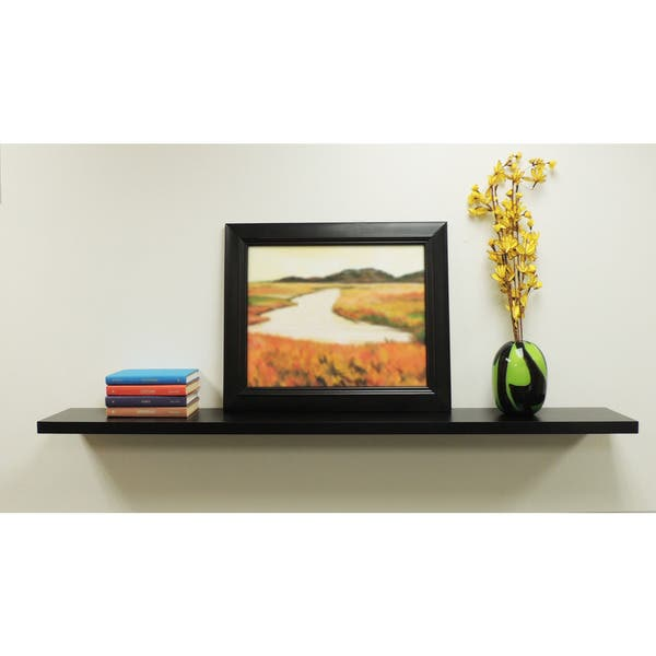 Inplace Wall Mounted 48 Inch Black Floating Shelf