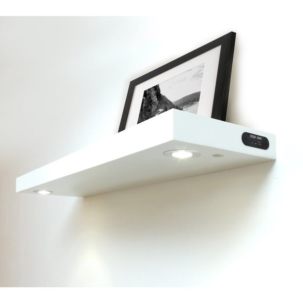 Shop InPlace Wall Mounted White Floating Shelf With 40LED Lights Simple White Floating Shelve