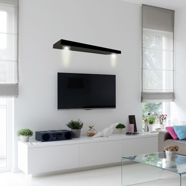 Inplace Wall Mounted Black Floating Shelf With 2 Led Lights