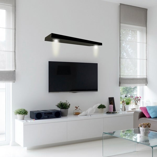 Lewis Hyman Black Wall Mounted Floating Shelf With 2 Led Lights