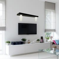 Lewis Hyman Wall Mounted Black Floating Shelf with 2-LED Lights