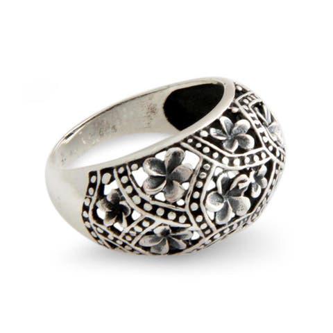 NOVICA Handmade Sterling Silver 'Frangipani Mystique' Ring (Indonesia)