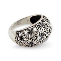 Handmade Sterling Silver 'Frangipani Mystique' Ring (Indonesia)