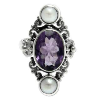 Handmade Silver 'Frangipani Queen' Pearl Amethyst Ring (6 mm) (Indonesia)