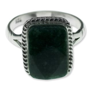 Sterling Silver 'Maya Forest Princess' Jade Ring (Guatemala)