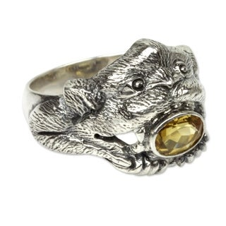 Handmade Sterling Silver 'Monkey Glam' Citrine Ring (Indonesia)