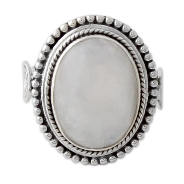 Handmade Sterling Silver 'Rainbow Glow' Rainbow Moonstone Ring (India)