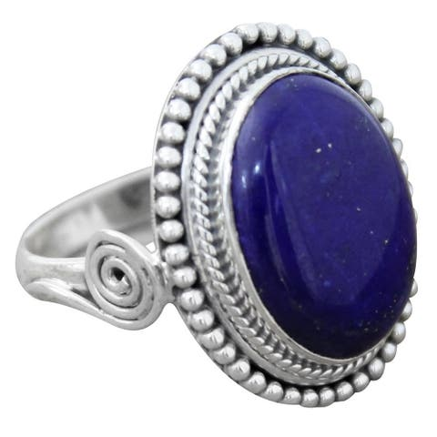 Handmade Sterling Silver 'Royal Blue Glow' Lapis Lazuli Ring (India)
