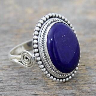 Sterling Silver 'Royal Blue Glow' Lapis Lazuli Ring (India)