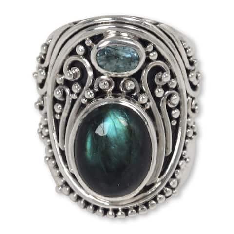NOVICA Handmade Sterling Silver 'Misty Starlight' Labradorite Topaz Ring (Indonesia)
