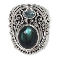 Handmade Sterling Silver 'Misty Starlight' Labradorite Topaz Ring (Indonesia)